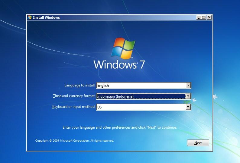 cara instal ulang windows 7