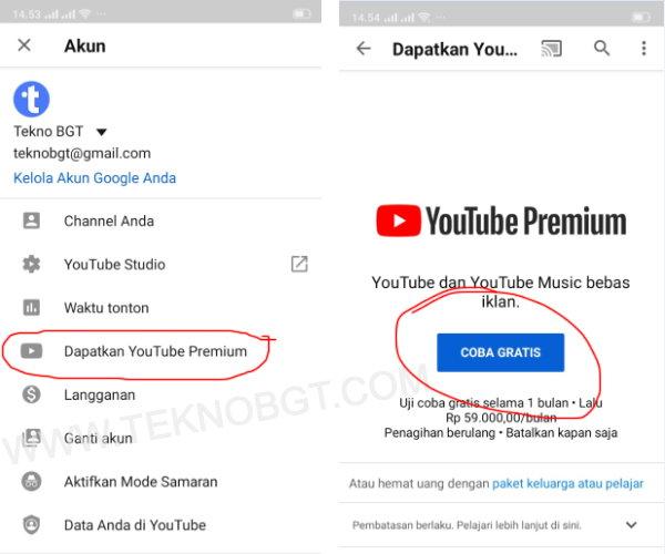 cara daftar youtube premium gratis copy