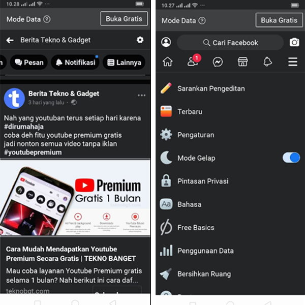 facebook lite dark mode android