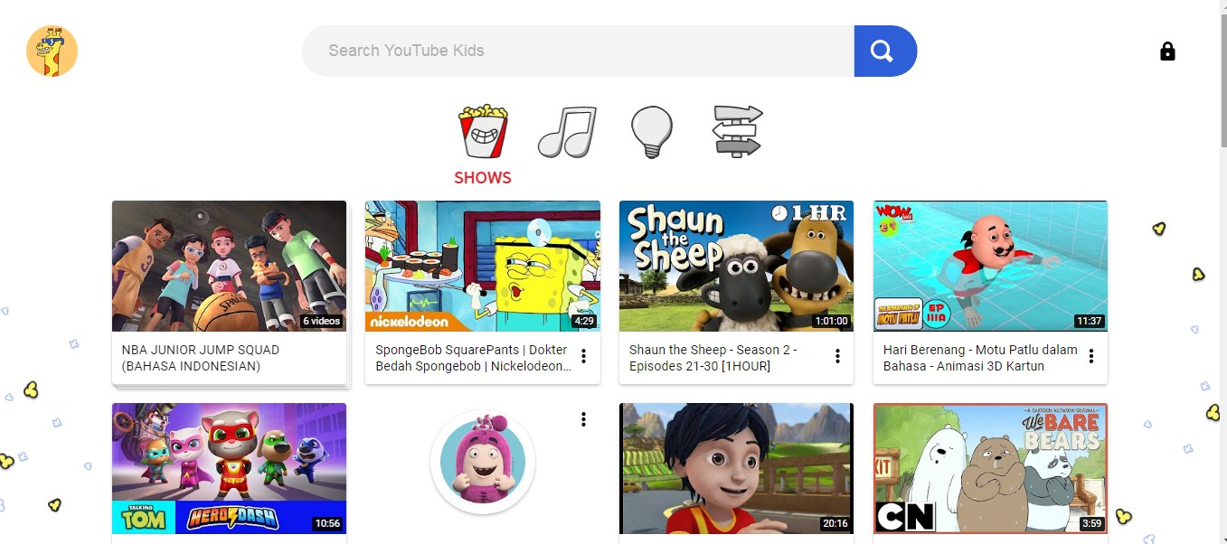 tampilan youtube kids di pc atau laptop