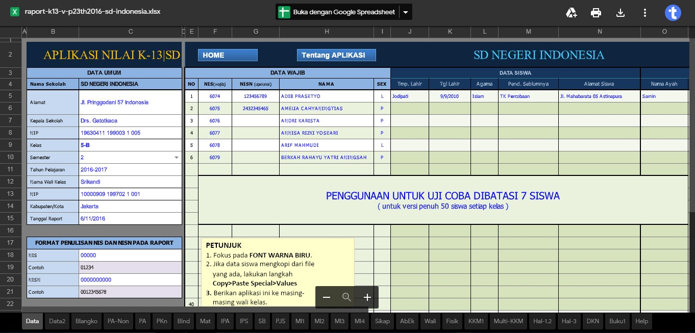 Aplikasi Raport K13 Terbaru Untuk Sd Tekno Banget