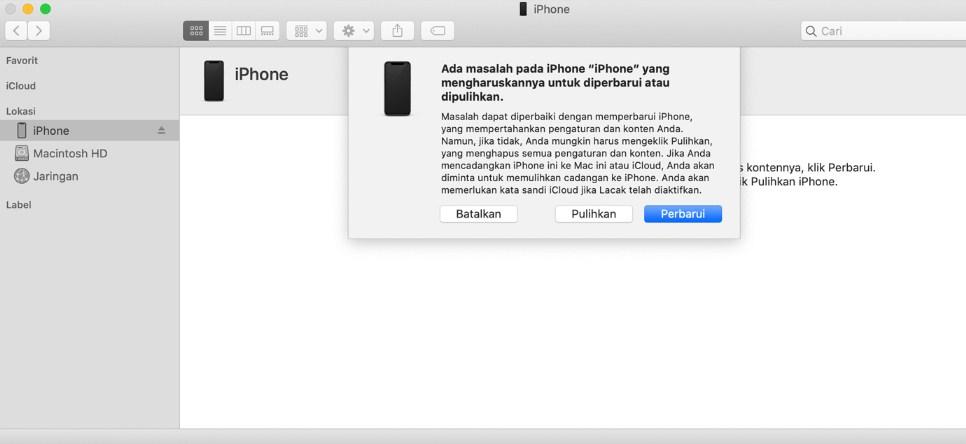 cara pemulihan iphone lupa password
