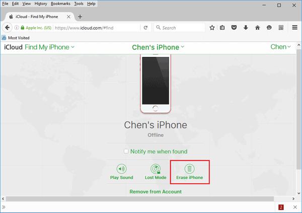 contoh reset perangkat dari find my iphone