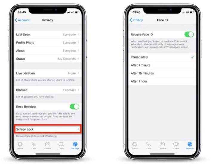 Kunci Whatsapp Dengan Face ID dan Touch ID