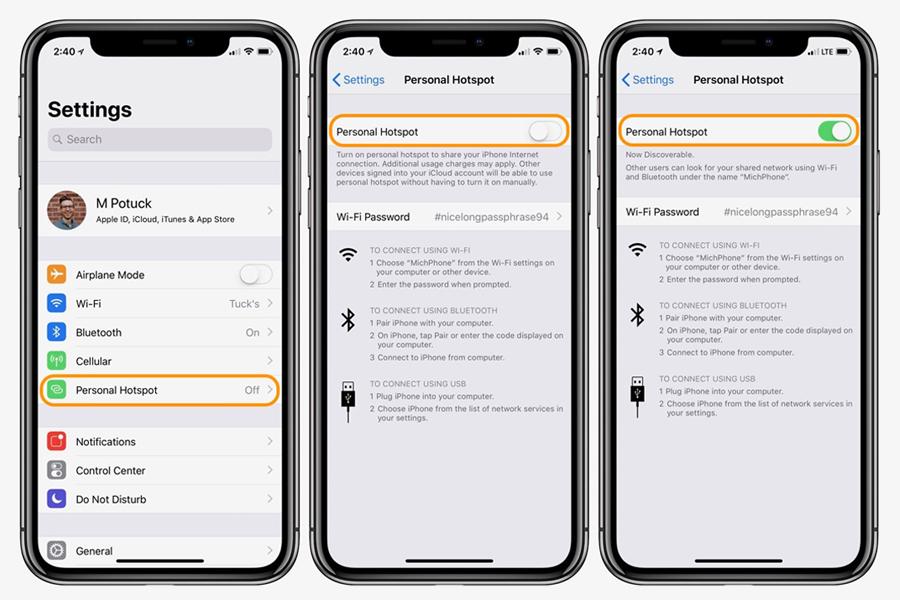 cara aktifkan wifi hotspot iphone