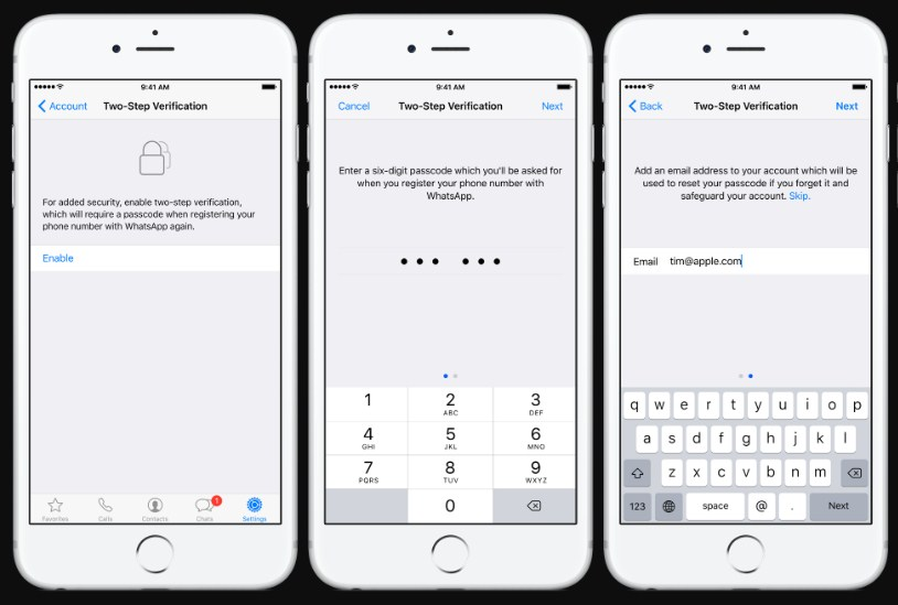 two-step verification whatsapp on iphone