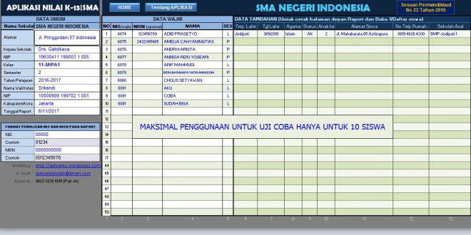 download aplikasi raport k13 SMA excel