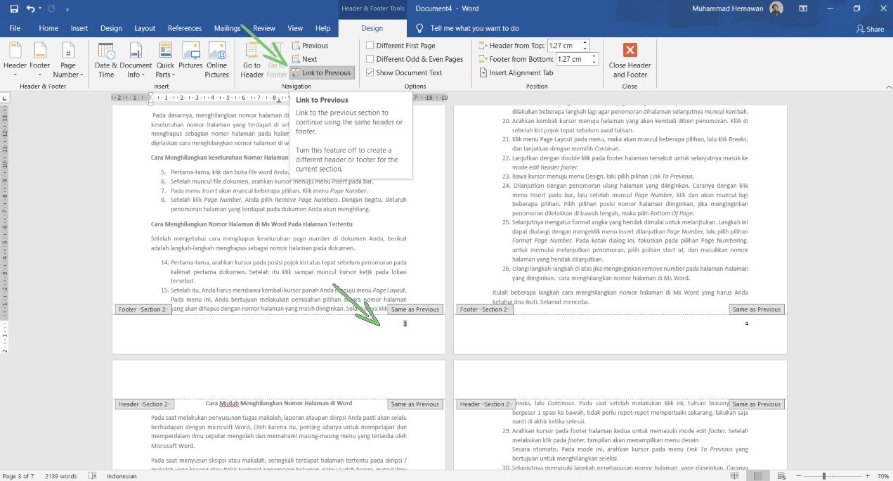 Menghilangkan Nomor Halaman Di Microsoft Word 3