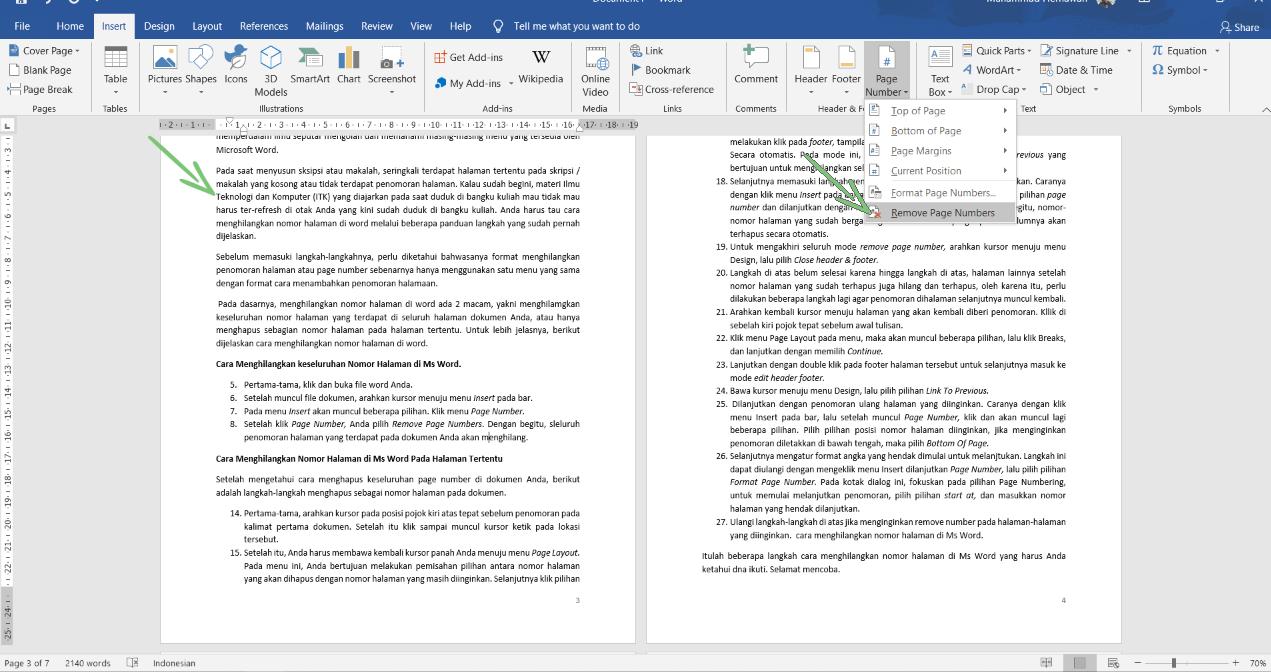 Menghilangkan Nomor Halaman Di Microsoft Word 4