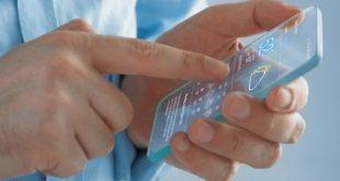 ilustrasi rancangan smartphone transparan samsung