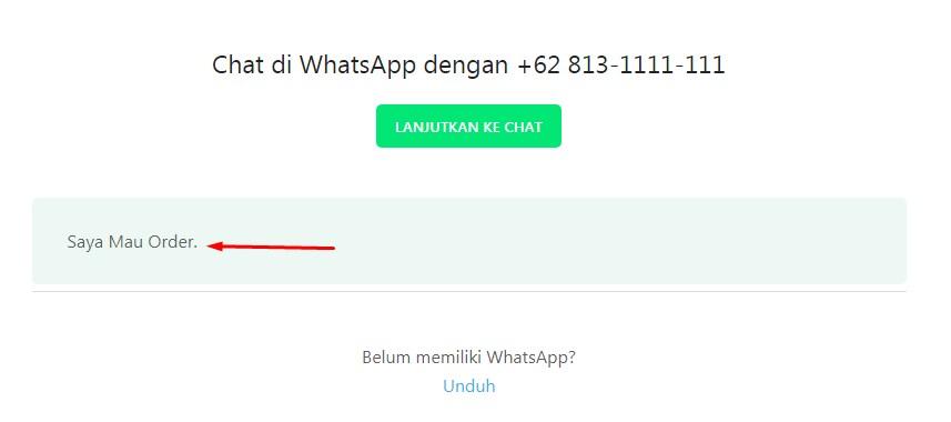 contoh link whatsapp dengan pesan singkat
