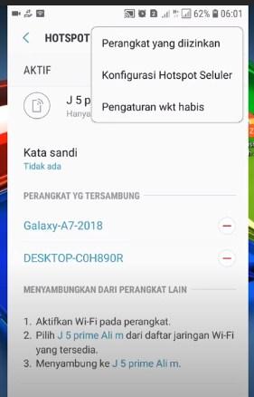 pengaturan izin perangkat pada hotspot hp android