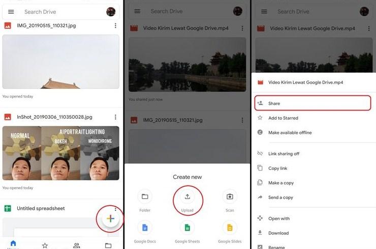 share dokumen di google drive mobile