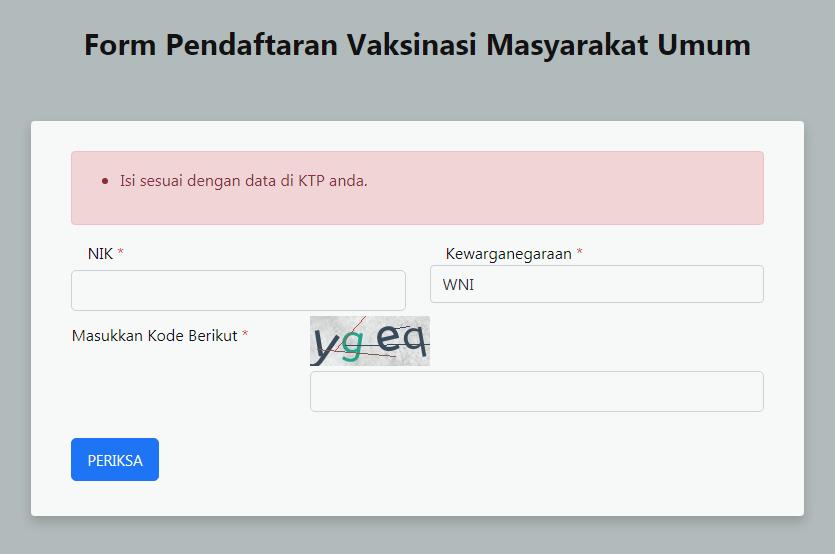 form pendaftaran vaksin online gratis untuk umum