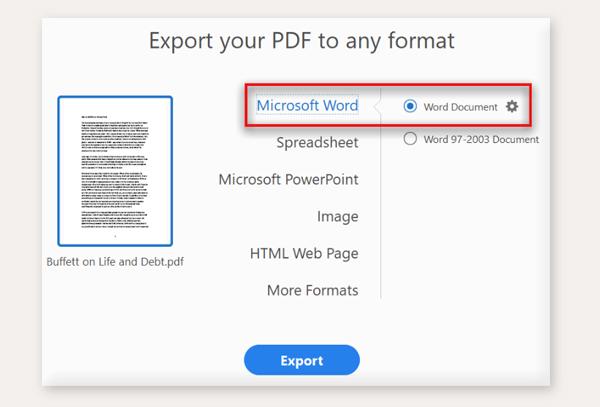 export pdf to word di adobe acrobat pro