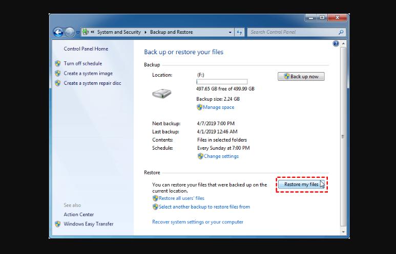 restore my files windows 7